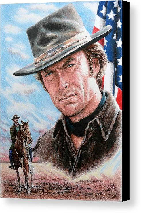 Clint Eastwood Canvas Print featuring the drawing Clint Eastwood American Legend by Andrew Read