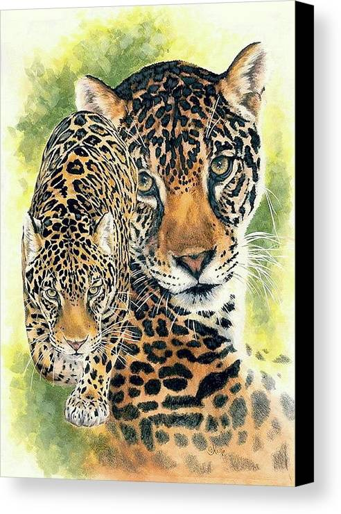 Jaguar Canvas Print featuring the mixed media Compelling by Barbara Keith