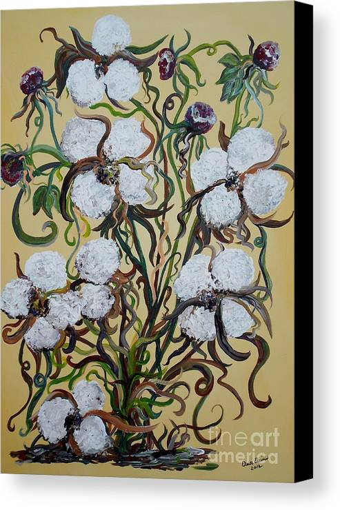 Impasto Canvas Print featuring the painting Cotton #2 - Cotton Bolls by Eloise Schneider