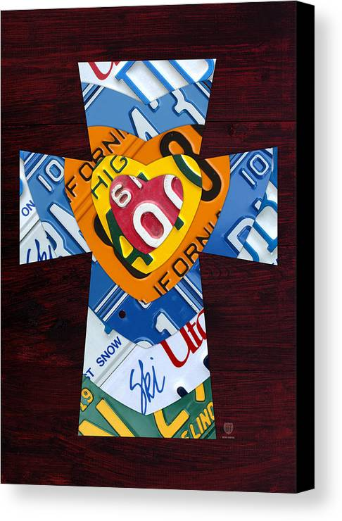 cross with heart rustic license plate art on dark red wood canvas
