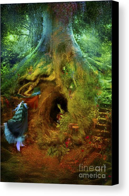 Wonderland Canvas Print featuring the digital art Down The Rabbit Hole by Aimee Stewart