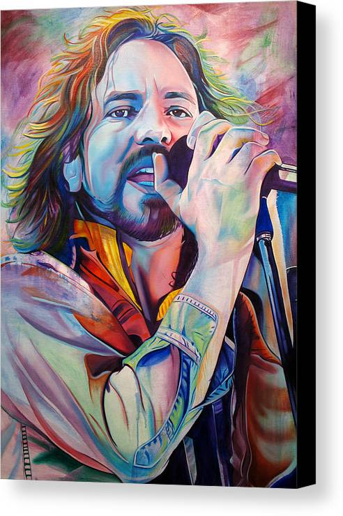 Eddie Vedder Canvas Print featuring the painting Eddie Vedder In Pink And Blue by Joshua Morton
