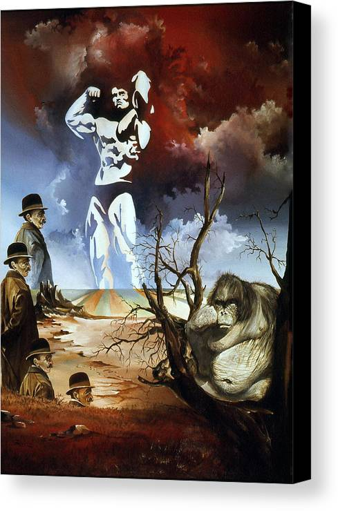 Surrealism Canvas Print featuring the painting Evolution by Otto Rapp