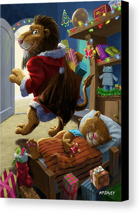 Christmas Canvas Print featuring the digital art Father Christmas Lion Delivering Presents by Martin Davey