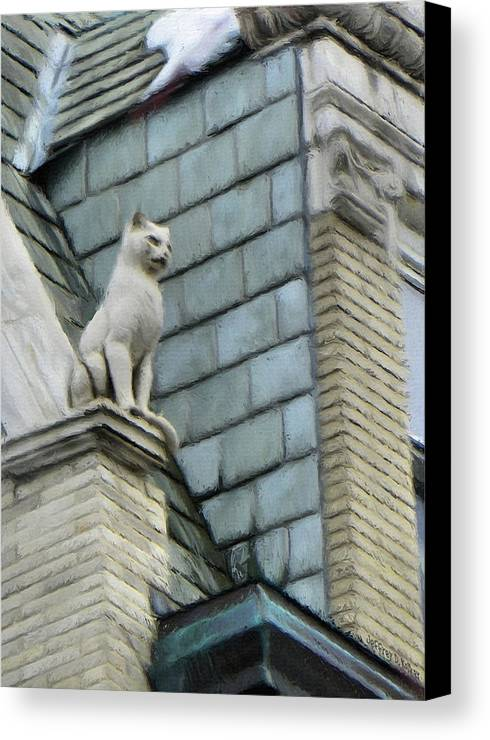 Architecture Canvas Print featuring the painting Feline Sentry by Jeffrey Kolker
