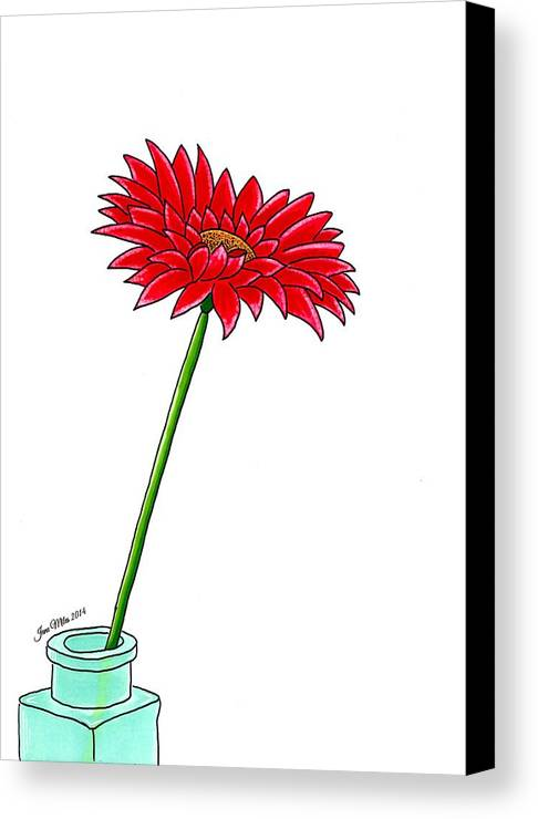 Drawings Canvas Print featuring the drawing Flower In Bottle by Jane Miles