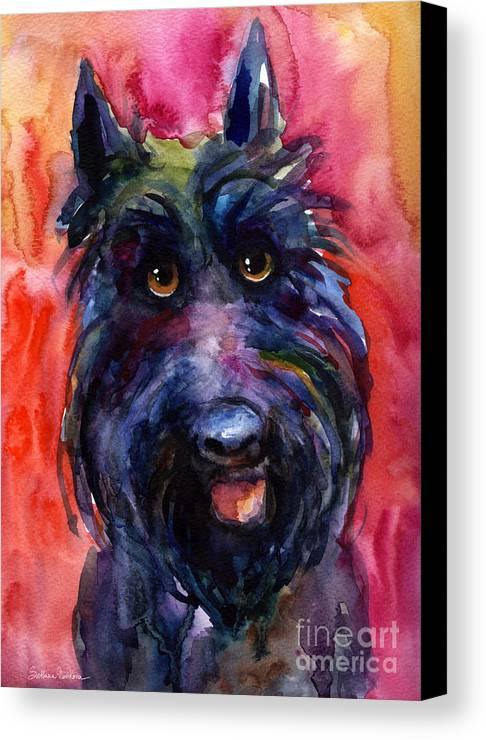 Scottish Terrier Canvas Print featuring the painting Funny Curious Scottish Terrier Dog Portrait by Svetlana Novikova