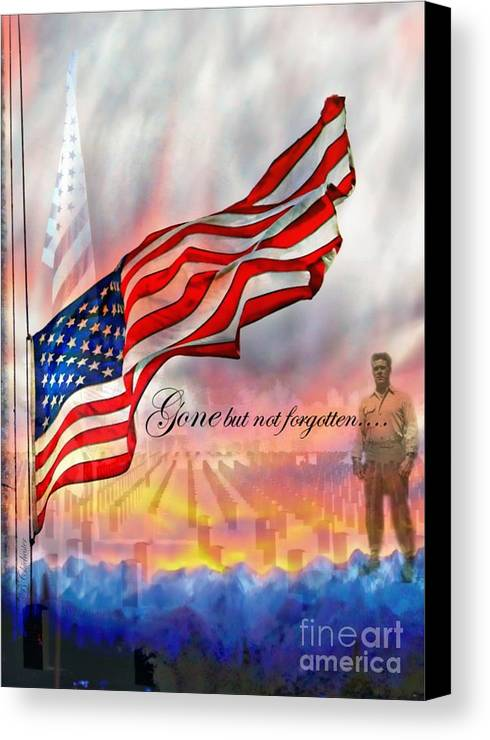 Flag Canvas Print featuring the photograph Gone But Not Forgotten Military Memorial by Barbara Chichester