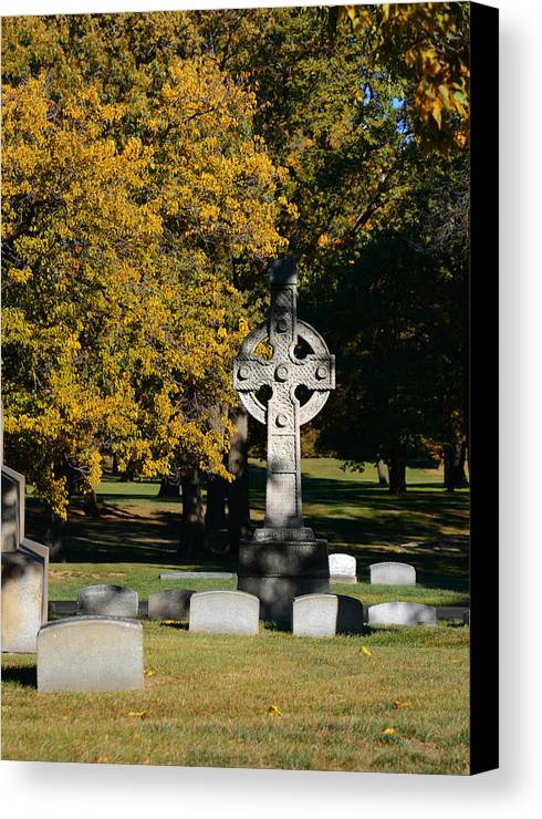 Graveyard Canvas Print featuring the photograph Graceland Cemetery Chicago - Tomb Of John W Root by Christine Till