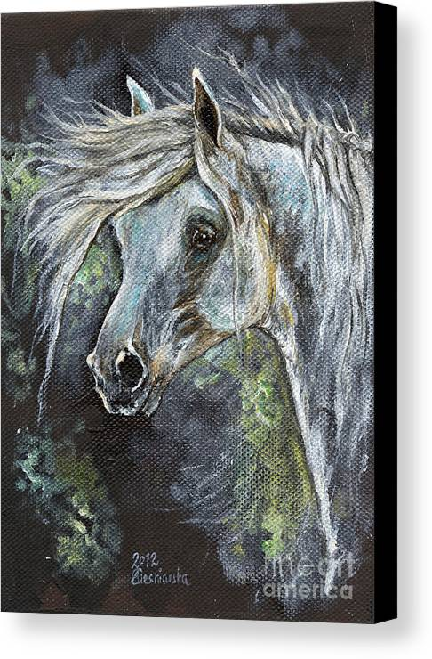 Horse Canvas Print featuring the painting Grey Pony With Long Mane Oil Painting by Angel Ciesniarska