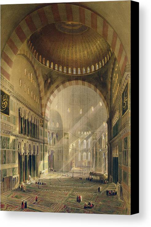 Lighting Canvas Print featuring the drawing Haghia Sophia, Plate 24 Interior by Gaspard Fossati