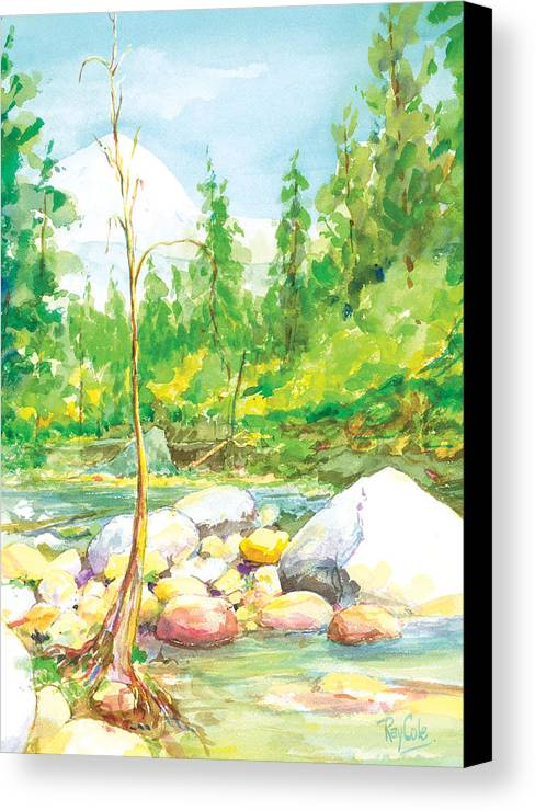 Creek Canvas Print featuring the painting Happy Isles by Ray Cole