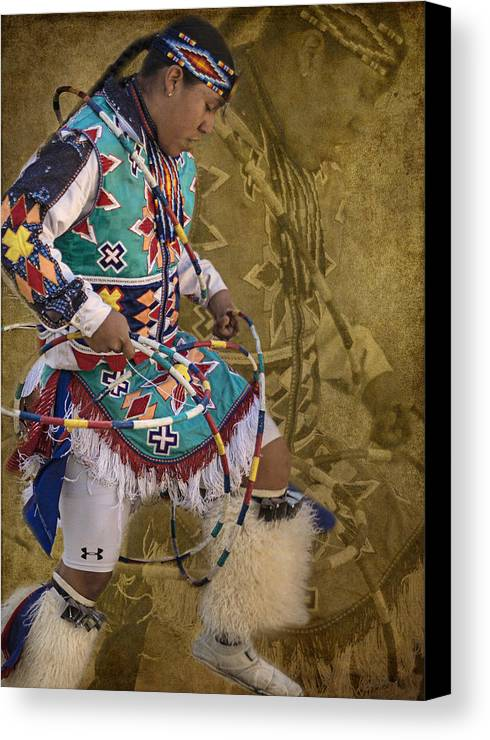 Native American Canvas Print featuring the photograph Hoop Dancer Past And Present by Priscilla Burgers