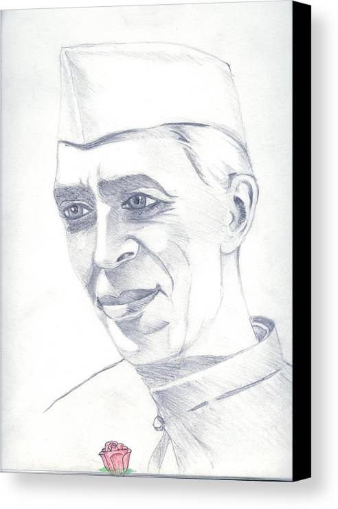 Jawaharl Lal Nehru Photos Canvas Print featuring the painting Jawaharlal Nehru by Tanmay Singh