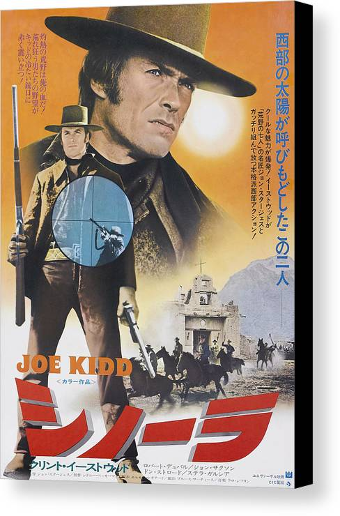 1970s Poster Art Canvas Print featuring the photograph Joe Kidd, Clint Eastwood On Japanese by Everett