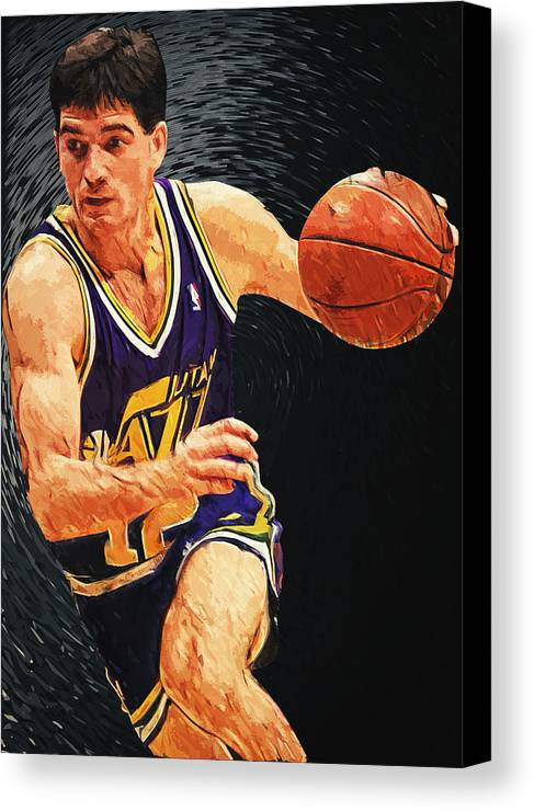 John Stockton Canvas Print featuring the digital art John Stockton by Taylan Apukovska