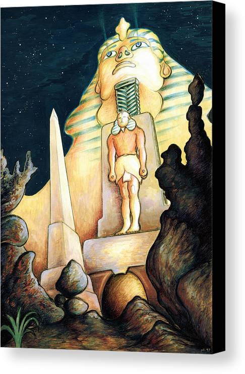 Sphinx Canvas Print featuring the painting Magic Vegas Sphinx - Fantasy Art by Peter Potter