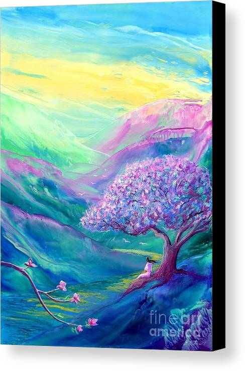 Magnolia Canvas Print featuring the painting Meditation In Mauve by Jane Small