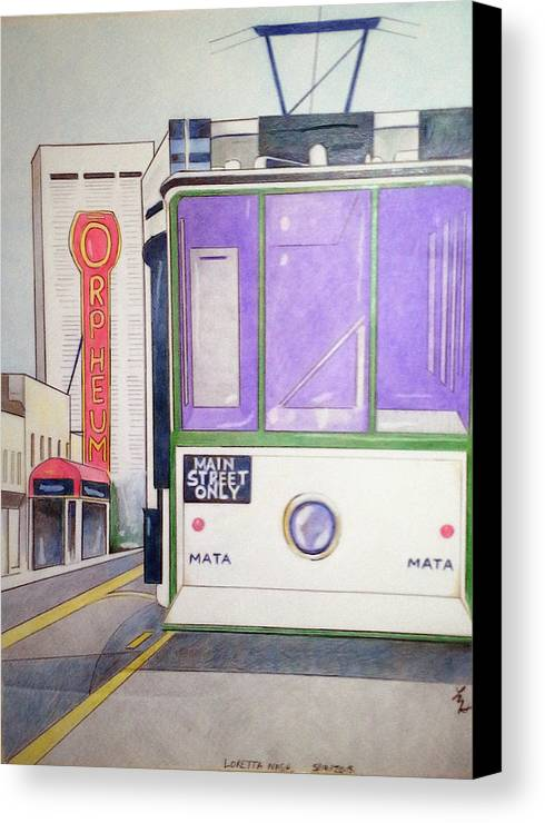 Landscape Canvas Print featuring the drawing Memphis Trolley by Loretta Nash