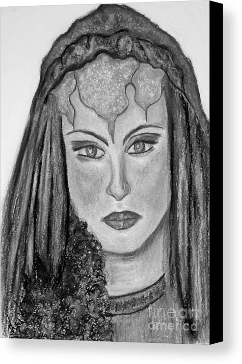 Lady Canvas Print featuring the drawing Mirabella Black White by Lori Lovetere