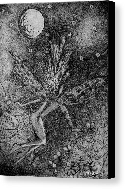 Fairy Canvas Print featuring the relief Moonlit Path by Stacey Pilkington-Smith