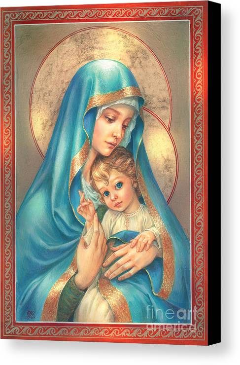 Mother Of God Canvas Print featuring the digital art Mother Of God by Zorina Baldescu