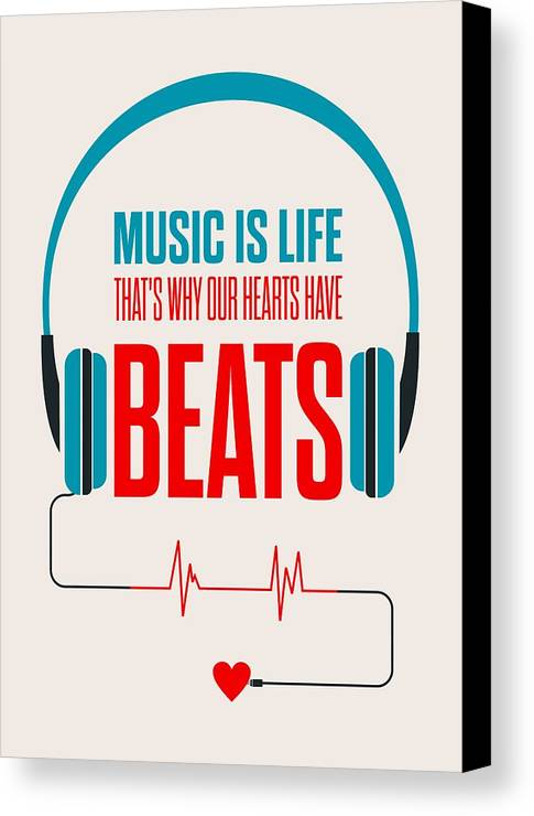 Music Is Life Thats Why Our Hearts Have Beats Canvas Print Featuring The Digital