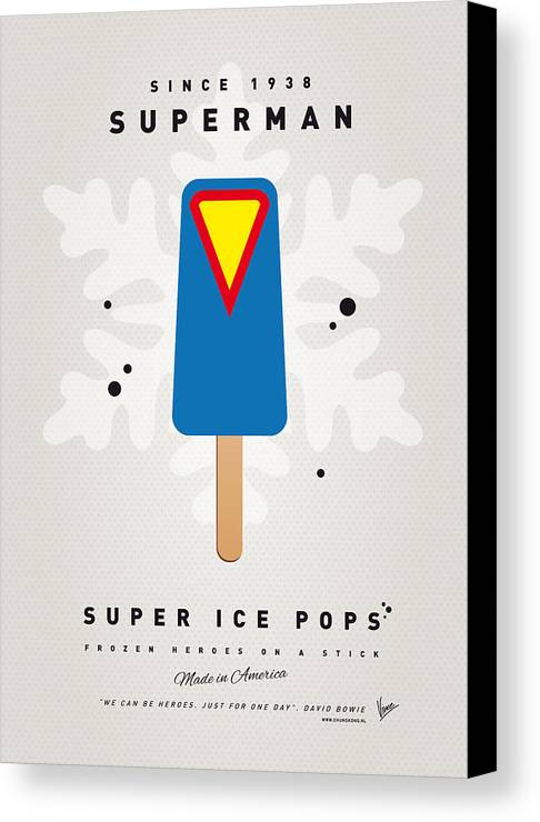 Superheroes Canvas Print featuring the digital art My Superhero Ice Pop - Superman by Chungkong Art