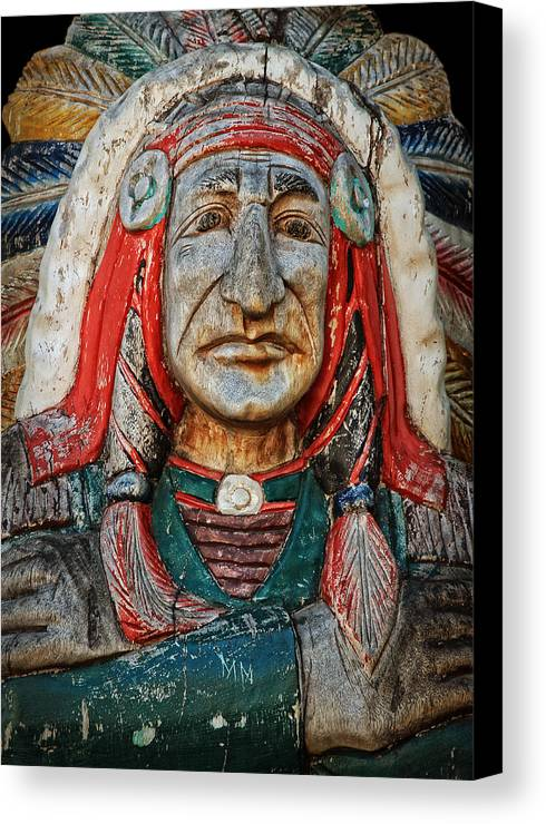 Native American Canvas Print featuring the photograph Native American Wood Carving by John Cardamone