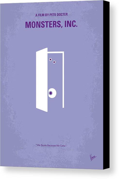 Monster Canvas Print featuring the digital art No161 My Monster Inc Minimal Movie Poster by Chungkong Art