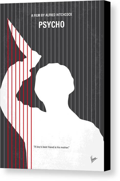 Psycho Canvas Print featuring the digital art No185 My Psycho Minimal Movie Poster by Chungkong Art
