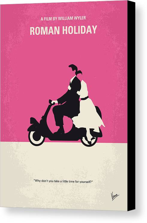 Roman Canvas Print featuring the digital art No205 My Roman Holiday Minimal Movie Poster by Chungkong Art