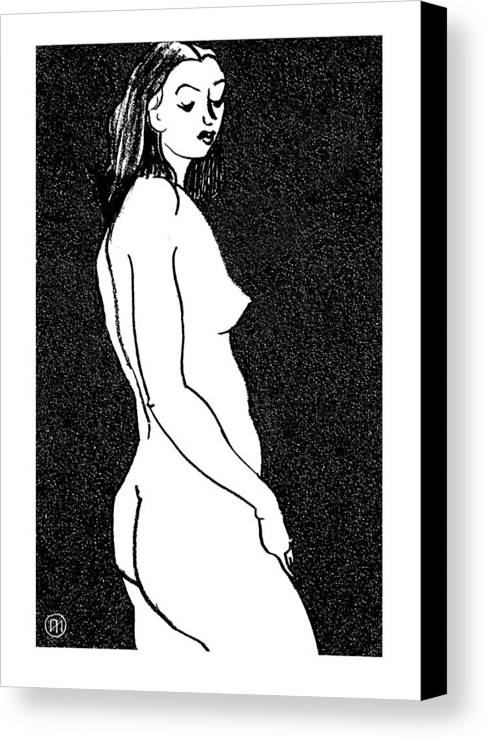 Nude Canvas Print featuring the drawing Nude Sketch 8 by Leonid Petrushin