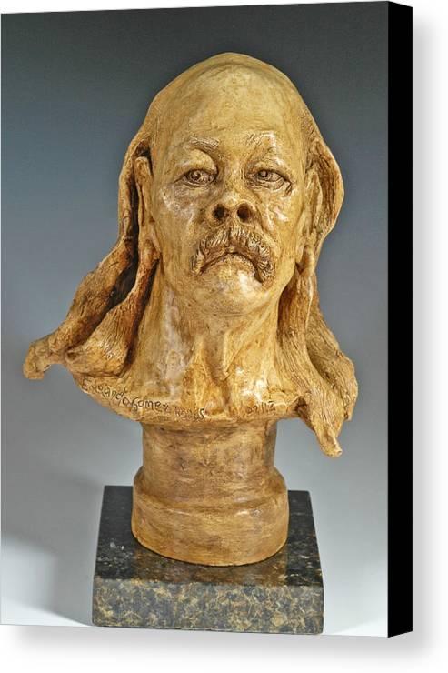 Figurative Sculpture Canvas Print featuring the sculpture Old Hippie by Eduardo Gomez