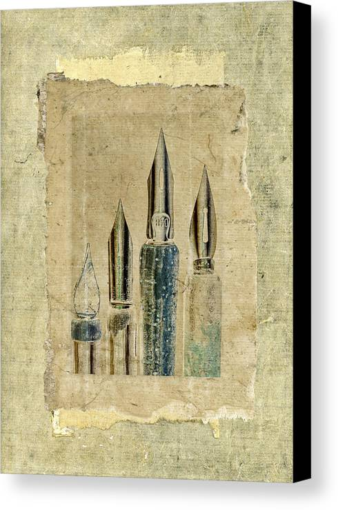 Pens Canvas Print featuring the photograph Old Pens Old Papers by Carol Leigh