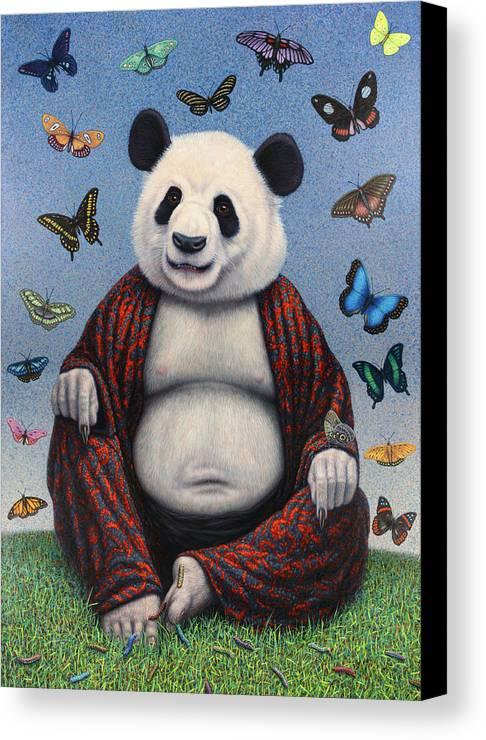 Panda Canvas Print featuring the painting Panda Buddha by James W Johnson
