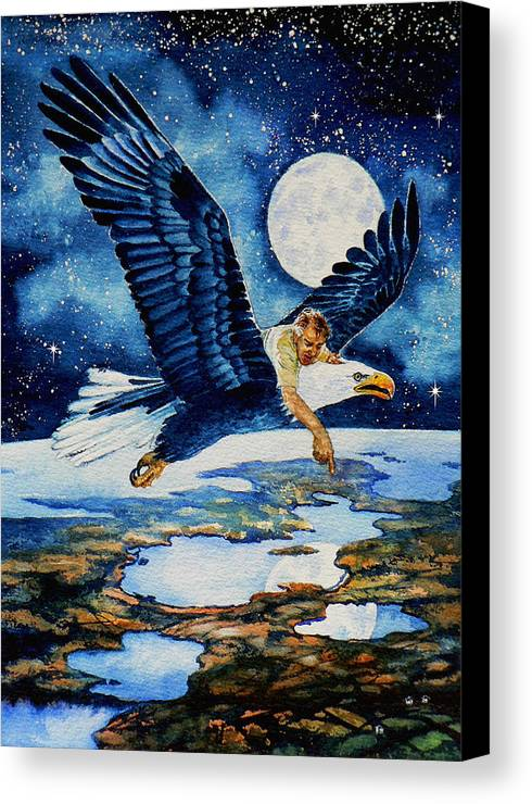Flying Over Earth Canvas Print featuring the painting Pooka Hill 4 by Hanne Lore Koehler