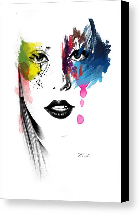 Lady Gaga Canvas Print featuring the painting Portrait Of Colors  by Mark Ashkenazi