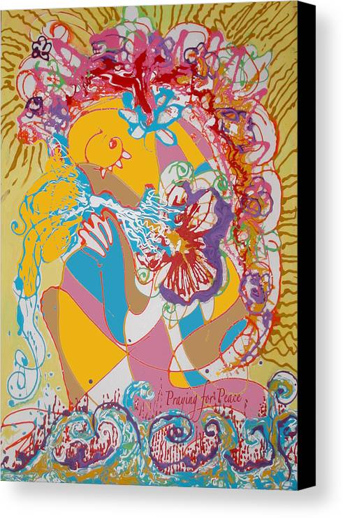 Peace Canvas Print featuring the painting Praying For Peace by Anne Cameron Cutri