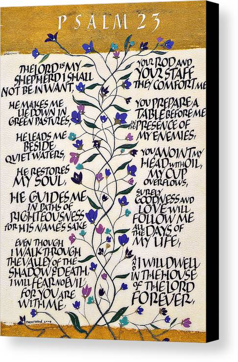 Catholic Art Canvas Print featuring the drawing Psalm 23 by Dave Wood
