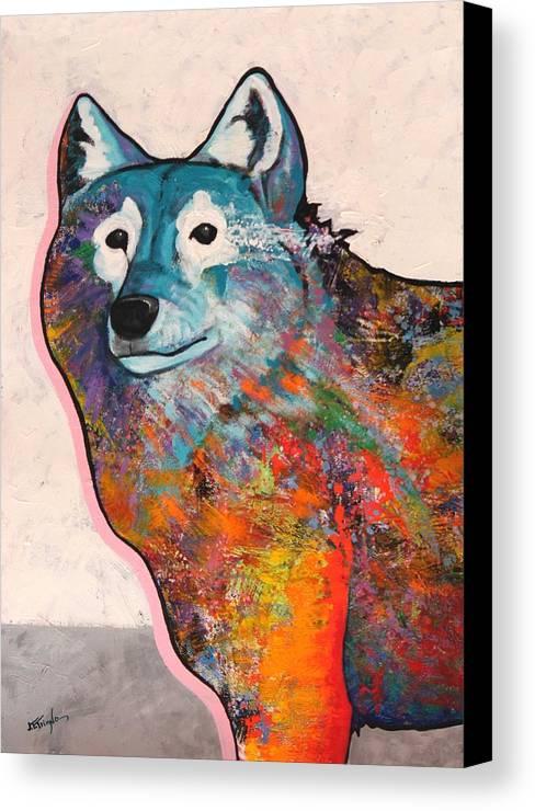 Animal Canvas Print featuring the painting Rainbow Warrior - Alfa Wolf by Joe Triano