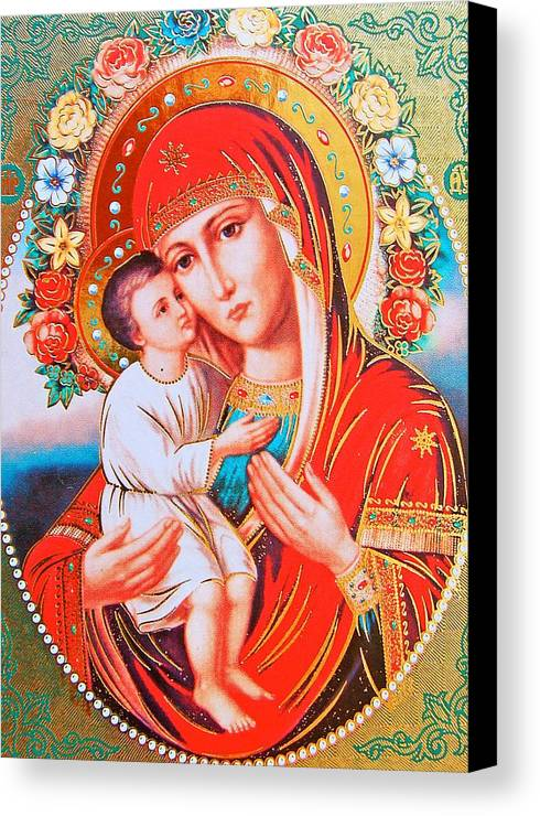 Icon Canvas Print featuring the photograph Roses And Holy Family by Munir Alawi