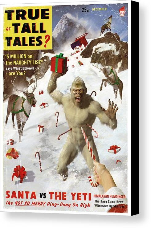 Pulp Canvas Print featuring the painting Santa Vs The Yeti by Alex Tomlinson
