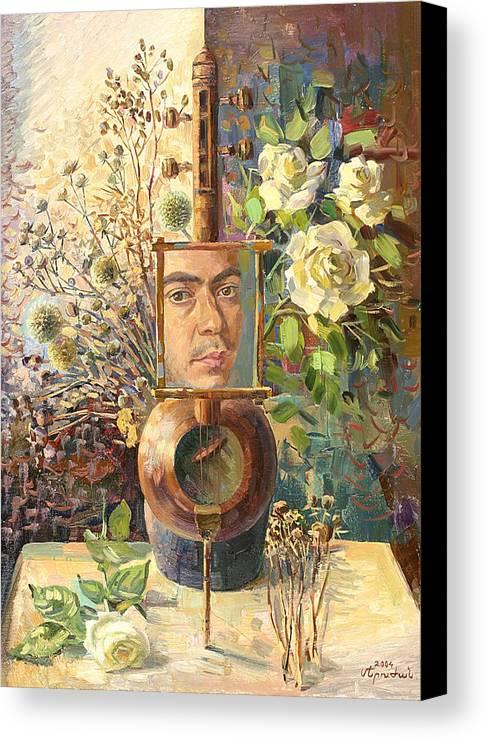 Self-portrait Of Khachatryan Meruzhan Canvas Print featuring the painting Self-portrait Our Two Parties by Meruzhan Khachatryan