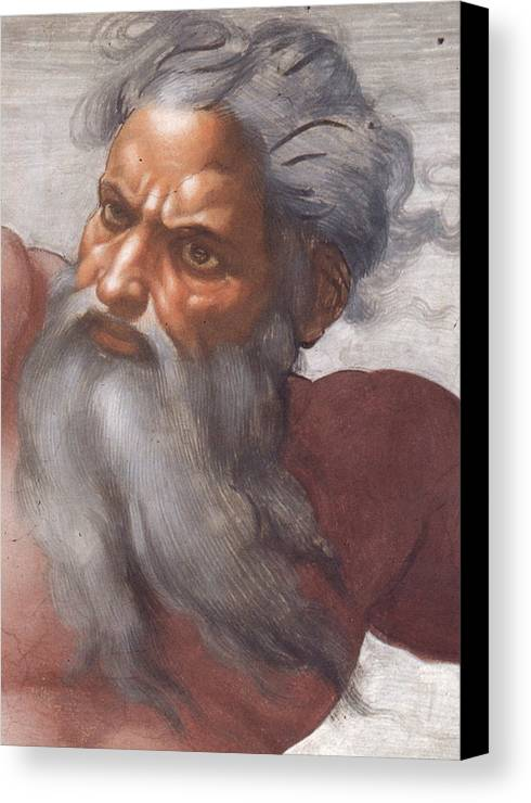 Renaissance; High; Old Testament; Genesis; God The Father; Skies; Sky; Father; Creator; Beard; Bearded; Close-up; Grey; Old; Angry; Male; Sistine Canvas Print featuring the painting Sistine Chapel Ceiling Creation Of The Sun And Moon by Michelangelo Buonarroti