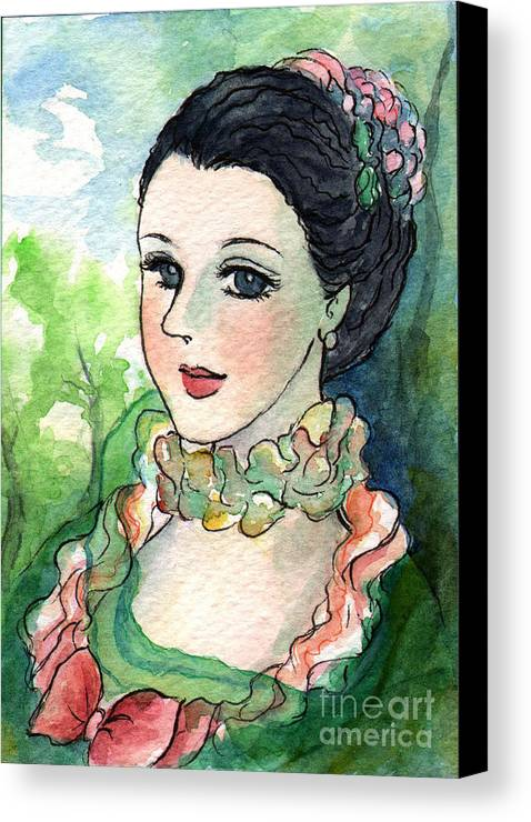 French Canvas Print featuring the painting Sm003 Young Pompadour by Kirohan Art