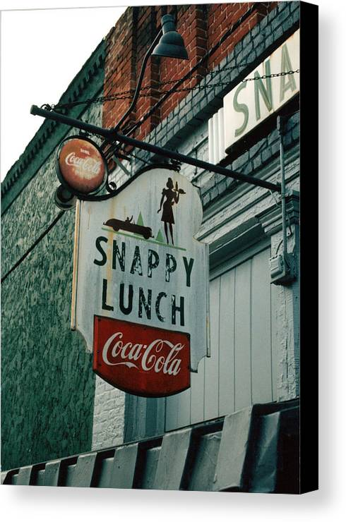 Sigh In Front Of Restaurant Canvas Print featuring the photograph Snappy's by Steve Godleski