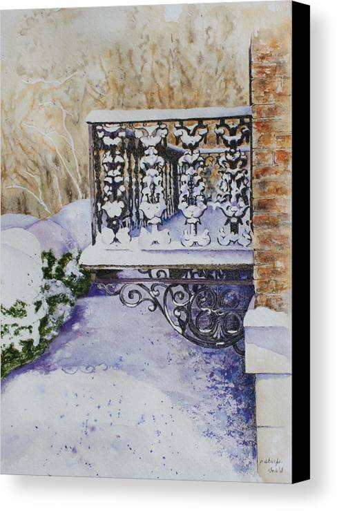 Snow Scene Canvas Print featuring the painting Snowy Ironwork by Patsy Sharpe