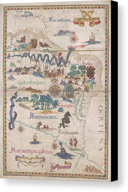 Amazon Canvas Print featuring the photograph South America With Settlements by British Library