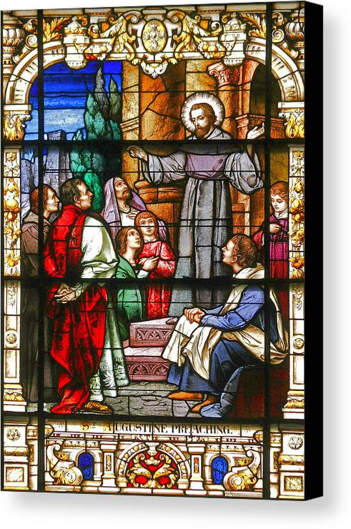 St Canvas Print featuring the photograph Stained Glass Window Saint Augustine Preaching by Christine Till
